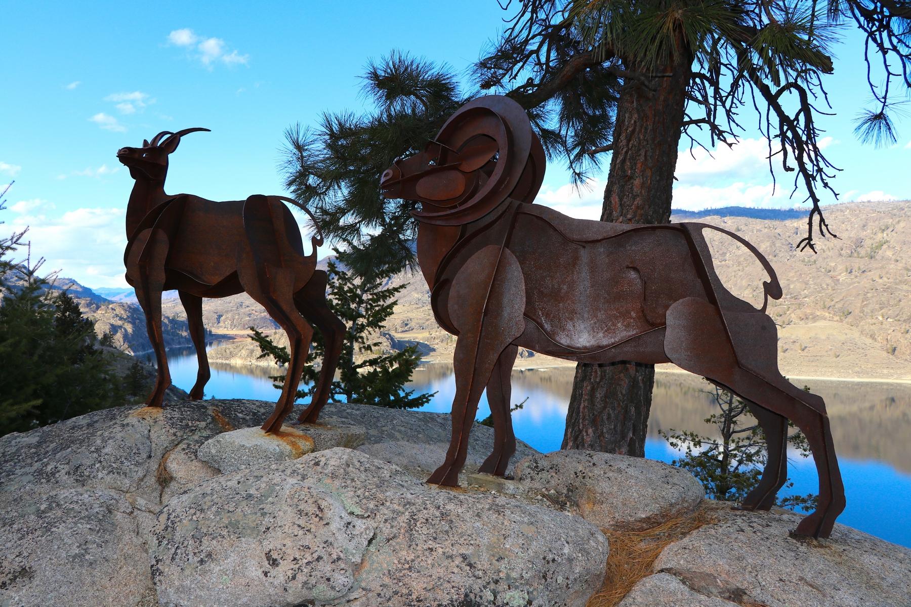 Bighorn Sheep Metal Statue